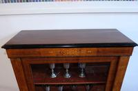 Victorian inlaid walnut pier cabinet on turned supports and original glass framed door (8 of 13)