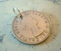 Vintage Pocket Watch Chain Fob 1957 Lucky Silver One Shilling Old 5d Coin Fob (8 of 8)
