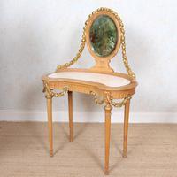 Neoclassical Marble Dressing Table Gilt Mirrored Vanity Satinwood (12 of 14)