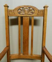 Set of 6 Oak Arts & Crafts Dining Chairs (4 of 7)