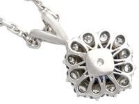 2.35ct Sapphire & 0.32ct Diamond, Platinum Cluster Pendant - Vintage c.1970 (5 of 9)