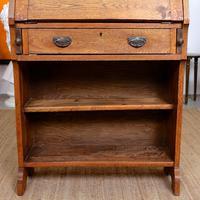 Oak Bureau Arts & Crafts Writing Desk Chest Edwardian Slim (6 of 12)