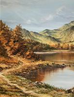 Original 20th Century Snowdonia Lake North Wales Welsh Mountain Landscape Oil Painting (4 of 12)