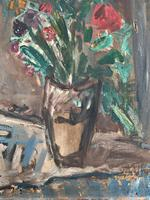 Large Rustic 19th Century French Impressionist Still Life Floral Oil Painting - Minor TLC (6 of 12)