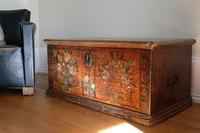 19th century painted pine coffer with floral artwork to the front (2 of 19)