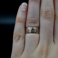 Antique Fancy Engraved Floral Patterned 9ct 9K Gold Stacking Band Ring (3 of 9)
