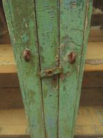 Antique Glazed Wooden Indian Wall Cabinet with Chippy Old Turquoise Paint (6 of 18)