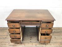 Early 20th Century Oak Kneehole Desk (8 of 14)