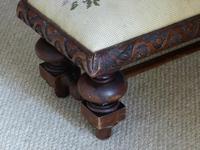 Victorian Mahogany Framed Foot Stool (4 of 6)