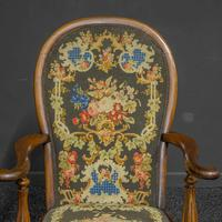 Victorian Carved Rosewood Armchair with Tapestry Upholstery (7 of 13)