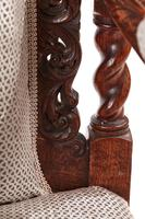 Fine Pair of Antique Carved Oak Armchairs c.1880 (9 of 13)
