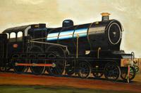 Antique Victorian Oil Painting Steam Locomotive Train (8 of 11)