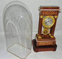 French Rosewwod Portico Clock Complete with Dome & Stand (7 of 9)