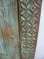 Handmade Indian Mango & Teak Large Painted Green 2 Door Storage Cupboard (11 of 12)