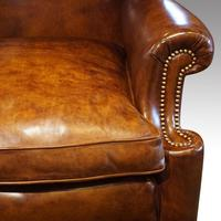 Antique Carved Walnut Leather Wing-back Chair (2 of 12)
