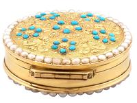 12ct Yellow Gold, Pearl & Turquoise Pill Box - Antique c.1815 (5 of 9)