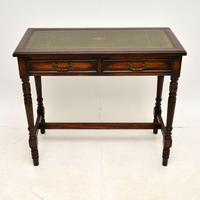 Antique Leather Top Oak Writing Table / Desk (2 of 10)