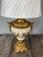 Victorian Gilded Spelter & Ceramic Table Lamp, Rewired & Pat Tested, Shade Included (8 of 10)