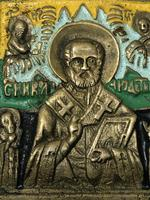 Early 20th Century Cold Painted Bronze Religious Russian Orthodox Church Icon (10 of 15)