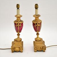 Pair of Antique French Porcelain & Gilt Metal Table Lamps (8 of 12)