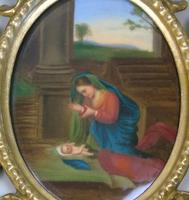 Italian Porcelain Plaque in Giltwood Hand Carved Frame Madonna & Child (4 of 7)