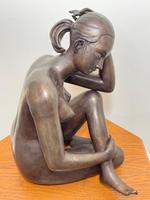 Art Deco Style Nubile African Tribal Bronze Nude Lady Statue Sculpture (7 of 28)