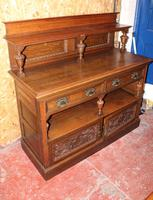 1920s Arts & Craft Style Carved Oak Sideboard with Back (4 of 9)