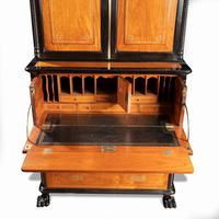 Anglo-Chinese Camphor & Ebony Campaign Secretaire Bookcase (13 of 15)