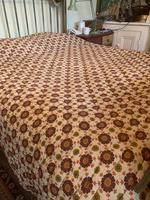 Antique Vintage Retro French Large King Size Patterned Bed Quilt (3 of 10)