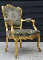 Beautiful Matched Pair of Fine Quality French Gilt Armchairs c.1900 (10 of 16)