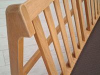 Danish Design by Børge Mogensen, Sofa Model 217, Completely Reupholstered 1970s, Furniture Wool, Oak (12 of 13)