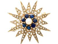 0.79ct Sapphire & Pearl, 9ct Yellow Gold Star Brooch - Victorian Style - Vintage 1965
