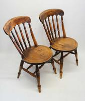 Pair of Good Quality Victorian Windsor Spindle Back Kitchen Chairs in Beech & Elm (9 of 10)