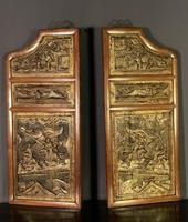 Good looking decorative pair of oriental gilded wall hangings (2 of 8)