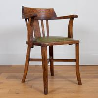 Vintage 1930s Oak Office Chair With Fresh Leather Seat x 2 (5 of 11)