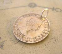 Vintage Pocket Watch Chain Fob 1956 Lucky Silver One Shilling Old 5d Coin Fob (6 of 7)