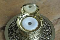 William Tonks & Sons Aesthetic Movement Castle Top Brass Inkwell c.1890 (6 of 6)