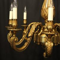 French Gilded Bronze 8 Light Antique Chandelier (2 of 10)