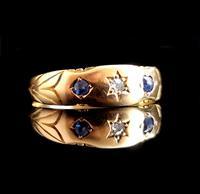 Antique Victorian Sapphire & Diamond Ring, 15ct Gold (3 of 12)
