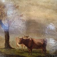 Antique large Georgian landscape oil painting study of cows (6 of 9)