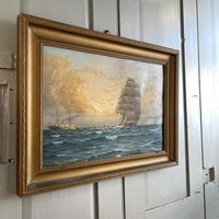 Antique Marine Oil Seascape Painting of Tall Sailing Ship at Sunset by Harry Noyes Lewis (8 of 10)