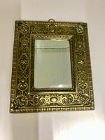 Victorian Brass Wall Mirror with Bevelled Glass c.1875 (4 of 4)