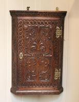 Mid 19th Century Carved Oak Corner Wall Cabinet (6 of 8)