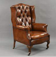 Stunning 19th Century Leather Wing Chair (2 of 6)