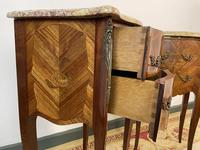 French Marquetry Bedside Tables Cabinets With Marble Tops Louis XVI Bombe Style (8 of 10)