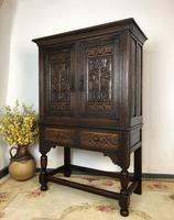 Stunning Carved Oak Cupboard On Stand (Pair Available)