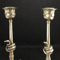 Pair of Unusual Aesthetic Movement Brass Candlesticks (4 of 6)