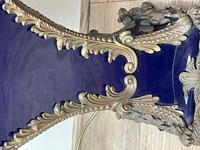 Pair of French Large Rams Heavy Bronze Blue Ceramic Table Lamps (8 of 46)