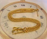 Vintage Pocket Watch Chain 1970 12ct Gold Plated Curb Link Albert With T Bar (4 of 10)