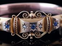 Antique Sapphire and Diamond bangle, 9ct Rose gold (11 of 11)